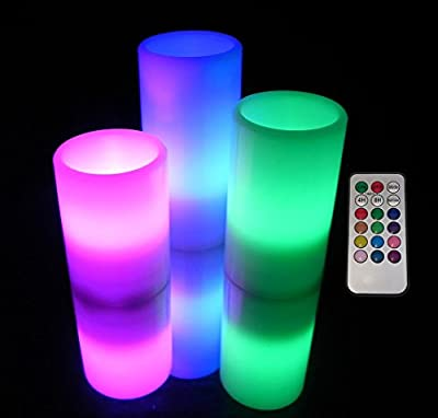 EGI - Set of 3 Flickering REAL WAX Flameless Candles With Multi Color Remote Control and Timer - Romantic Led Candles - Vanilla Scented