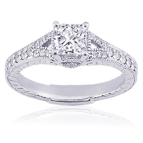 0.85 Ct Princess Cut Diamond Engagement Ring