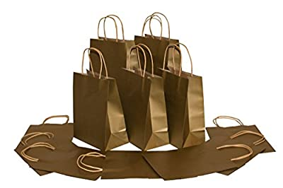 Medium Size Paper Gift Bags with Handles (7.75x4.25x9.75 Inches), Metallic Gold, 1 Dozen