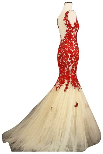 Sunvary Red and Champagne Mermaid Lace Prom Pageant Dresses for Christmas