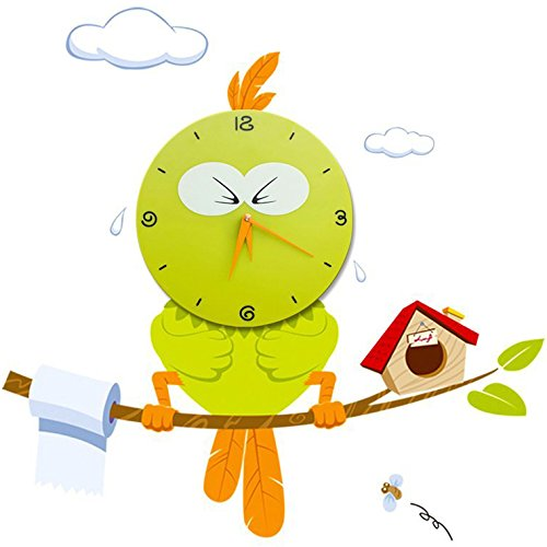 WallElf (TM) Removable Peel and Stick Nursery Wall Decals with Non-Ticking Silent Wall Clock (Hurry Bird Style), Decorative Mural Decal Combination, Perfect Home Natural Resuable Decorations for Baby Nursery Bedroom, Kid's Room, Boy's Room, Girl's Room,