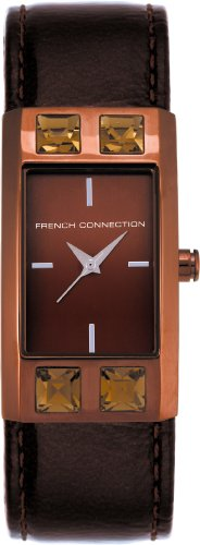 French Connection FC1022R Ladies Brown 3 hand Dial, Stone Set Case, Brown Leather Strap