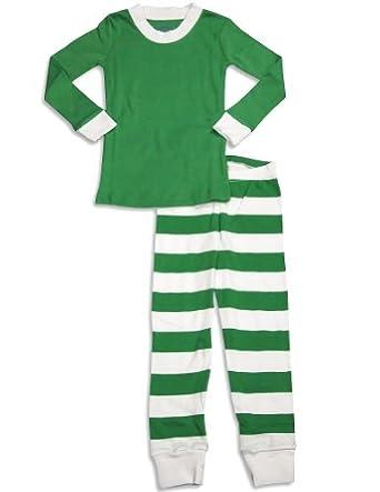 Sara's Prints Little Boys' Long John Pajama, Green/White Stripe, 2