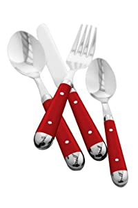 Premier Housewares Brasserie Cutlery Set - 16 -Piece - Red