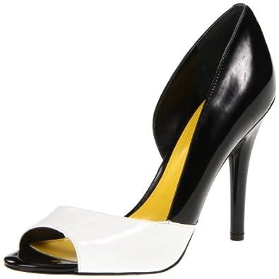 Nine West Women's Autheena Peep-Toe Pump,Black/White Synthetic,7 M US