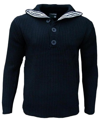 Soul Star Men's Flock Hooded Hoodie Hoody Knitted Jumper navy Small