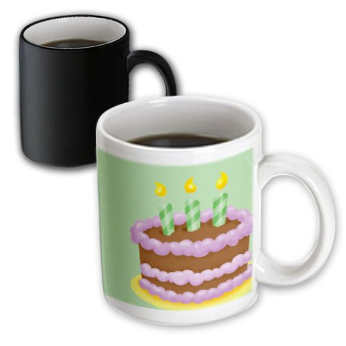 Tnmgraphics Birthdays - Birthday Cake Purple Frosting And Green Candles - 11Oz Magic Transforming Mug (Mug_165493_3)