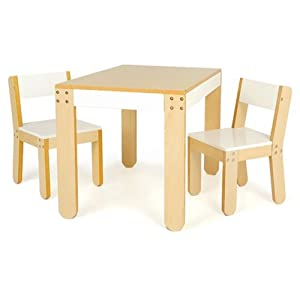 Little Ones Table And Chairs In White from P'kolino