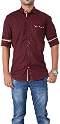 Passion Men's Slim Fit Casual Shirt (FS5087SMRFS, Maroon, Small)