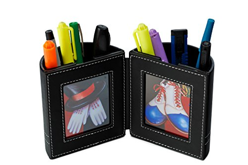 Desk Organizer , Pen and Pencil Holder with Picture Frame By Pensali - Office Supplies Space Saver - Made of Premium Suede Base Faux Leather - Strong Magnetic Clasp - Attractive Design (Tabletop Marker Organizer compare prices)