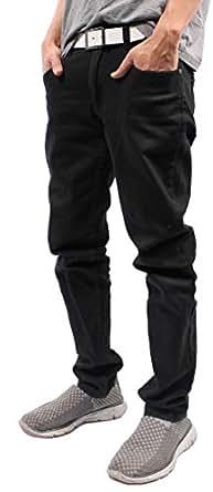 Mens Color Skinny Jeans (28/30, Black)