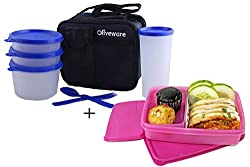 Oliveware Plastic Olympic Lunch Bag Including Tumbler , 1 Big & 2 Small, Set Of 4 Pieces,+ Oliveware Creative Lunch Box