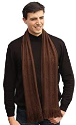 Handmade Lightweight Alpaca Winter Scarf for Men - Soft Espresso