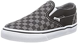 Vans Unisex Baby Checkerboard Classic Slip-On - Black/Pewter - 5 Infant