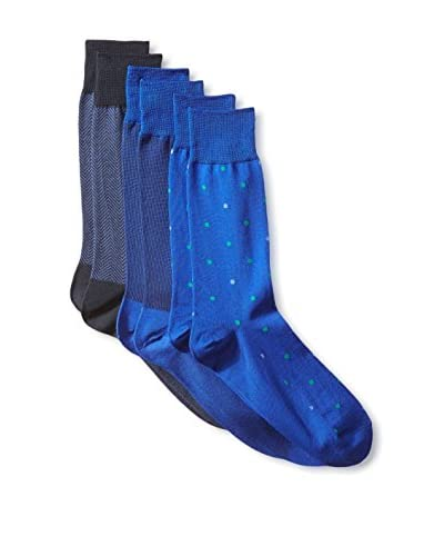 Florsheim Men's Shadow In The Crowd Sock 3-Pack, Blue, One Size