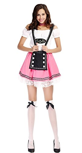 JustinCostume Women's Halloween Beer Girl Costumes Maid Dress Party Roleplay Outfits