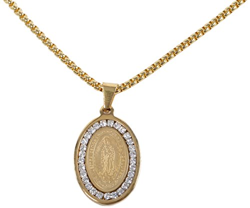 Stainless Steel Virgin Mary Gold Diamond Gem Stone Necklace