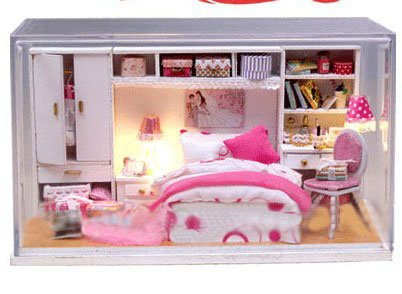 Big Dollhouse Miniature Diy Wood Frame Kit With Light Model Sweet Promise Gift Ldollhouse48-D73