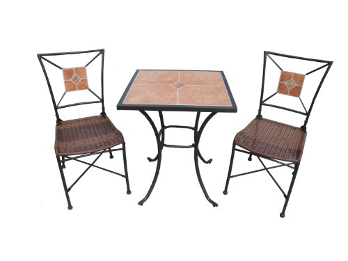 ... Chambery Furniture Bradley 3 Piece Bistro Set With Ceramic Tile Top And  Wicker Seats,