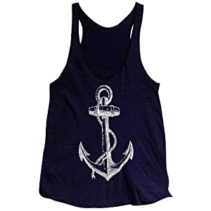 Friendly Oak Women's Anchor Tank Top -S -Navy Blue