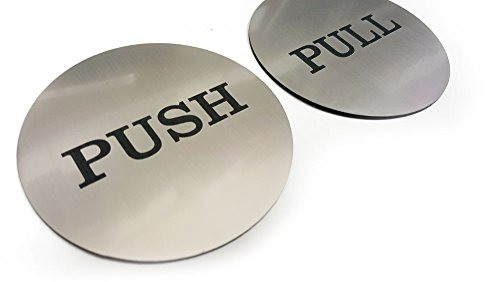 Push Pull Round Door Sign (Brushed Silver) (Metal Pull & Push Door Signs compare prices)