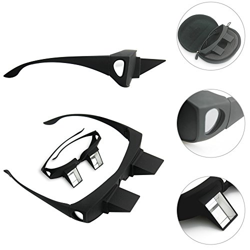 """Liknertech Periscope Glasses Easy Lie Down on the Bed for Reading Book Healthcare Prism Bed Specs Horizontal Loon Glasses, Refraction Glasses Bed Prism Spectacles Glasses Prism Glasses,The same with """"The Bucket List"""" (Black)"""