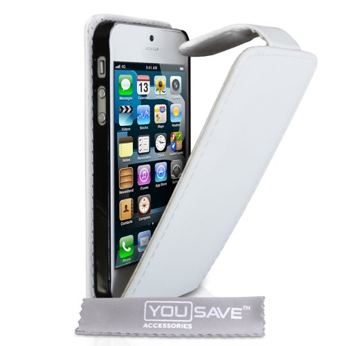 Iphone 5 / 5S Pu Leather Flip Case White