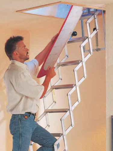 Alufix Laddaway 10-Tread 2.7m (8.9ft) Concertina Loft Ladders - Ideal for tiny attic spaces. Easy And Quick Fitting. Sturdy Aluminium. Suits Floor to Floor 2.46m-2.73m (8.1ft-9.0ft)