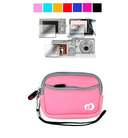 Mini Glove Camera Case for Fujifilm FinePix JV100 JV105 Z33WP + Screen Protector (Baby Pink)