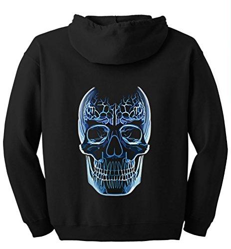 TshirtsXL Big Men's Glass Skull Graphic Full Zip Hoodie, 5X, Black