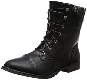 Madden Girl Women's Rummer Combat Boot,Black,6 M US