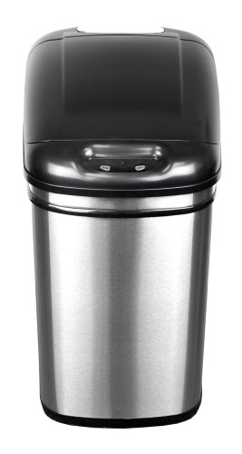 NST Nine Stars DZT-24-1 Infrared Touchless Automatic Motion Sensor Lid Open Trash Can, 6.3-Gallon
