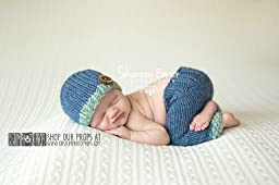 Denim and Sage Newborn Pants Photography Prop with Matching Hat, Baby Boy Props, Newborn Pants, Photo Props, Handmade Clothing, Knit, Wool