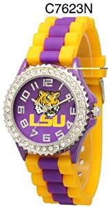 NCAA Officially Licensed LSU Tigers Rhinestone with Striped Wristband Watch