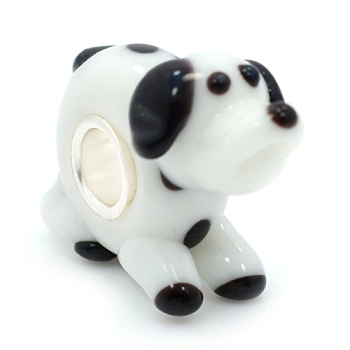 925 Solid Sterling Silver Black and White Dog Glass Charm Bead