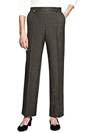 Classic Easy Care Quick Dry Non-Iron Pull On Button Tab Trousers [T58-7728-S]