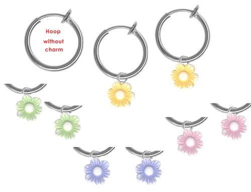 Kid's Set of Flower Non Pierced Hoops/ Set of 4 Colors