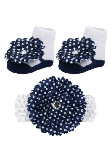 Navy And White Polka Dot Daisy With Stone Headwrap And Mary Jane Sock Set front-222334
