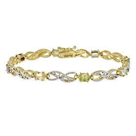 """18k Gold Plated Sterling Silver Multi-Gemstone Link Bracelet with Diamond-Accent, 7.25"""""""