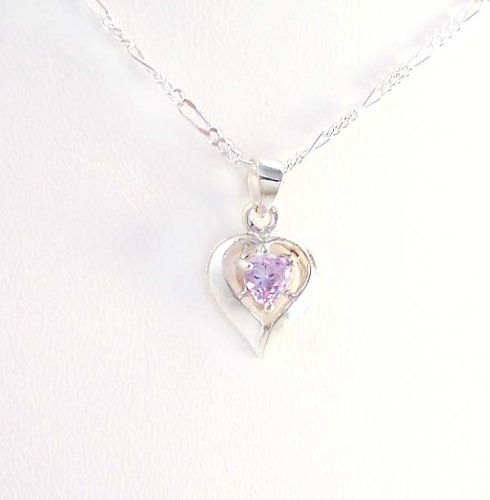 Birthstone June Alexandrite Heart Crystal Sterling Silver Necklace, 20