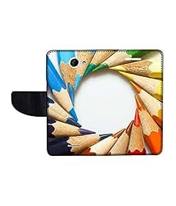 KolorEdge Printed Flip Cover For HTC Desire 516 Multicolor -(50KeMLogo12495HTC516)
