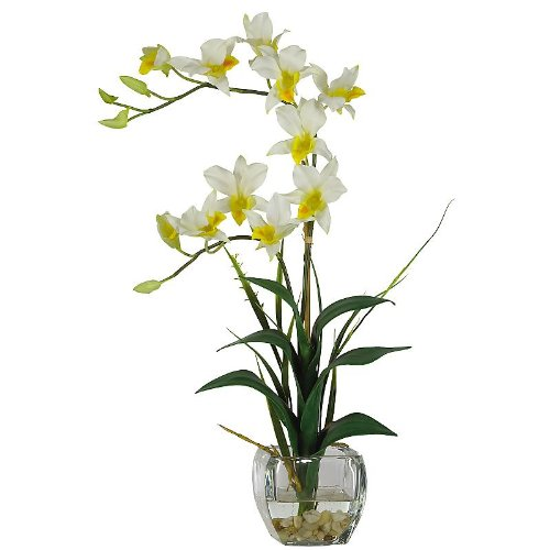 New Nearly Natural Dendrobium Liquid Illusion Silk Flower Arrangement Perfect Brilliant Color Cream