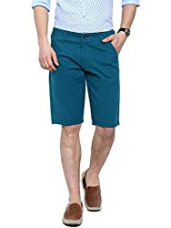 Showoff Men's Turquoise Slim Fit Solid Casual Chino Shorts