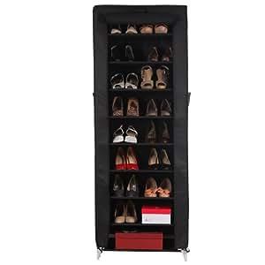 Songmics Armoire / étagères à chaussures 10 couches avec housse Rangement Pratique en toile avec zip couleur noir 58 x 28 x 160cm RXJ10H