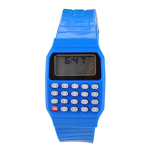 Ocaler®;Fashion Kid Unisex Children Silicone Date Multi-Purpose Electronic Wrist Calculator Watch (Blue)