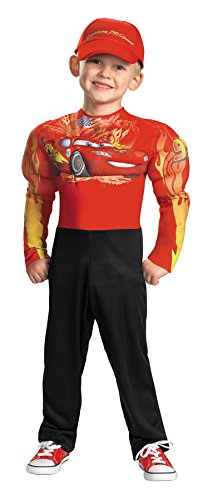 UHC Boy's Disney Cars Lightning Mcqueen Muscle Toddler Fancy Dress Child Costume, 2T (Holiday Car Costume)