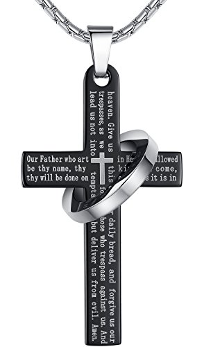 Mens-Stainless-Steel-Lords-Prayer-Cross-Halo-Pendant-Necklace-Black-Color-23-Chain-ddp010he