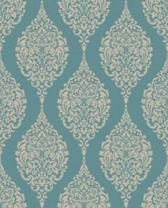 Home of Colour Damask Stripe Wallpaper - Teal from New A-Brend