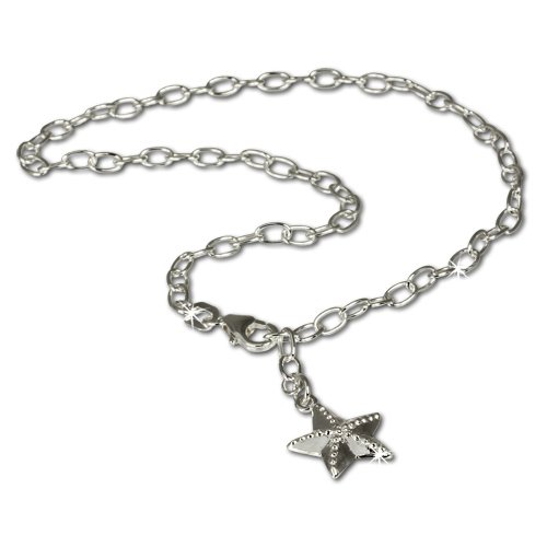 SilberDream anklet starfish, 925 Sterling Silver 9.8 inch SDF008