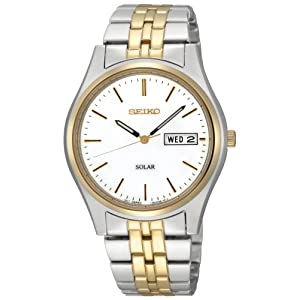 Click to buy Seiko Watches for Men: SNE032 Two-Tone Solar White Dial Watch from Amazon!